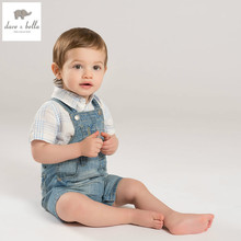 DB5007 dave bella summer baby boy romper cool denim blue infant clothes baby one-piece baby boys romper coverall babysuits