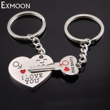 EX-MOON 1 pair Classic Heart Key Chains Lovers cuore KeyChains Jewelry An arrow through the heart Key chain Het hart K060(China)