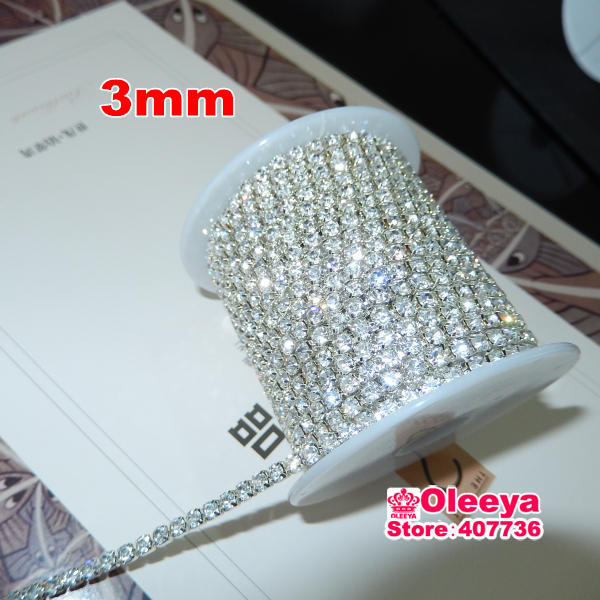 10yard/roll ss12 3mm Crystal Clear Color Metal Base Rhinestone Cup Chian for DIY Garment Our Rhinestone Cup is Very Tingt! Y2262(China (Mainland))