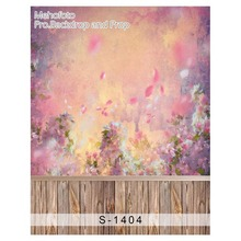 Photographic background Wood painting flower stitching newborn vinyl photography backdrops S-1404(China)