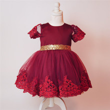 BBH Girls Lace infant dress kids Tutu wedding christmas costume baby girl lace dress children party princess dress 3colors 0-5Y
