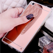 Luxury Mirror Soft Case For Huawei P8 lite Case Fashion TPU Frame Cover For Huawei Ascend P8 P9 lite Plus Ultra Slim Phone Case(China)