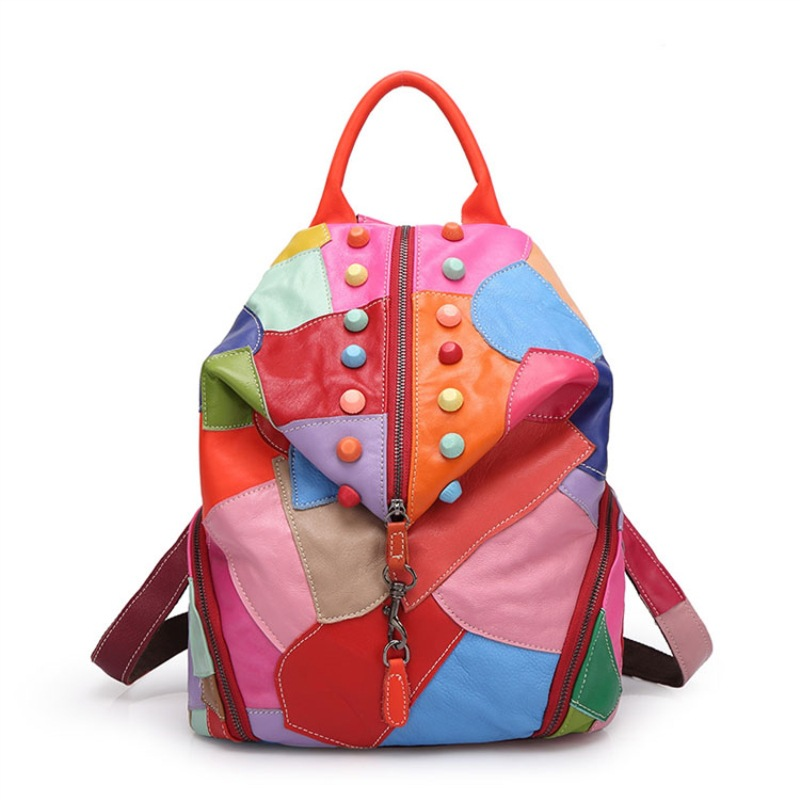 Lavimos 2018 Soft Fashion Backpack Women Leather Backpacks School Bags Women Casual Style Patchwork Zipper Female Shoulder Bags<br>