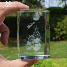 Christmas Gifts 3D Laser Engraved Snowman Crystal Cube Polished Glass Miniature For Ornaments Home Decoration Accessories