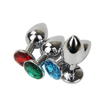 Buy 75 * 28mm Metal Mini Anal Sex Toys Women & Men Stainless Steel Anal Butt Plugs + Crystal Jewelry Beads Sex Products