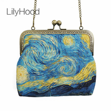 LilyHood 2017 Female Canvas Starry Night Printing Frame Shoulder Bags Retro Old Inspired Vincent van Gogh Artist Crossbody Bags(China)