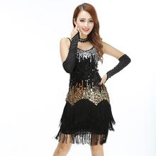 Women Bling Latin Dance Fringe Dress Sexy Rainbow Color Club Slip Gradient Sequin Dress With Tassel Vestido Robe Paillettes