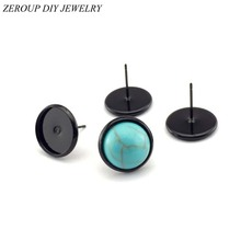 ZEROUP 10mm 12mm Stud Earring Round Black Plated glass cabochon base earring setting supplies for jewelry 20pcs/lot
