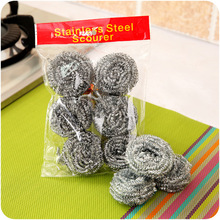 6PCS Metal Mesh Kitchen Super Detergent Cleaning Tool Degreasing Pot Decontamination Brush Magic Cleaner Steel Wool Pads Scourer(China)
