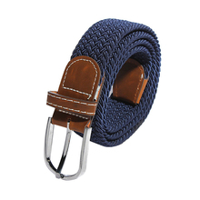 Men Elastic Stretch Woven Canvas Leather Pin Buckle Waist Belt khaki Blue 8 Colors(China)