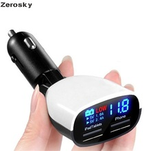 Zerosky Universal 5V 3.4A Dual USB Car Charger Adapter LED Monitor Display For iPhone 5 6 6S Ipad Samsung Tablet Phone Charger(China)