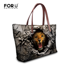 High Quality Women Handbags Brand Fashion Animal Shoulder Bags Cool Leopard Tiger Designer Top Handle Bolsas Large Travel Bags