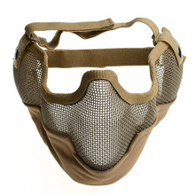 Top Quality Protected face mask Generic Tactical Airsoft CS Game Protective Guard Mesh Metal Half Face Mask - Mud Color