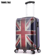 "TRAVEL TALE 20""24""28 Inch ABS Travel Suitcase On Wheels Flag Spinner Password Lock Boarding vintage Rolling Luggage(China)"