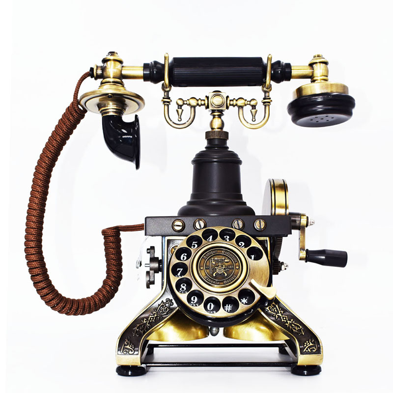 European Style Bronze Antique Telephone Rotary Dial Desk Phone Home Decor Gift