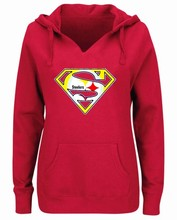 Women's Winter Steeler Fans Hoodies New Design Pittsburgh Sweatshirts Superman S Logo Picture Print Fashion Tops V-neck Pullover(China)
