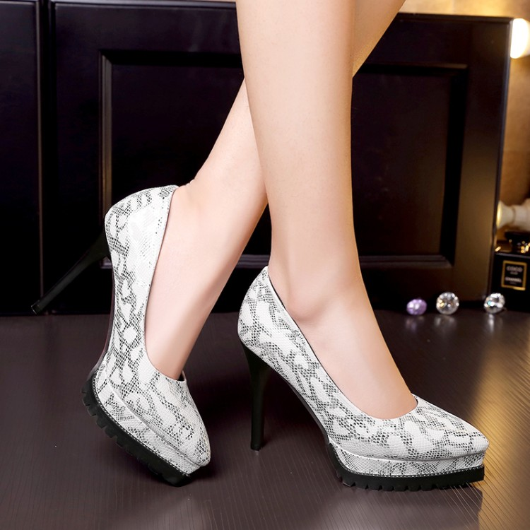 2017 spring/autumn shoes woman fashion pointed toe super high heels thin heels plus size 11 Leopard platform shoes party pumps<br>