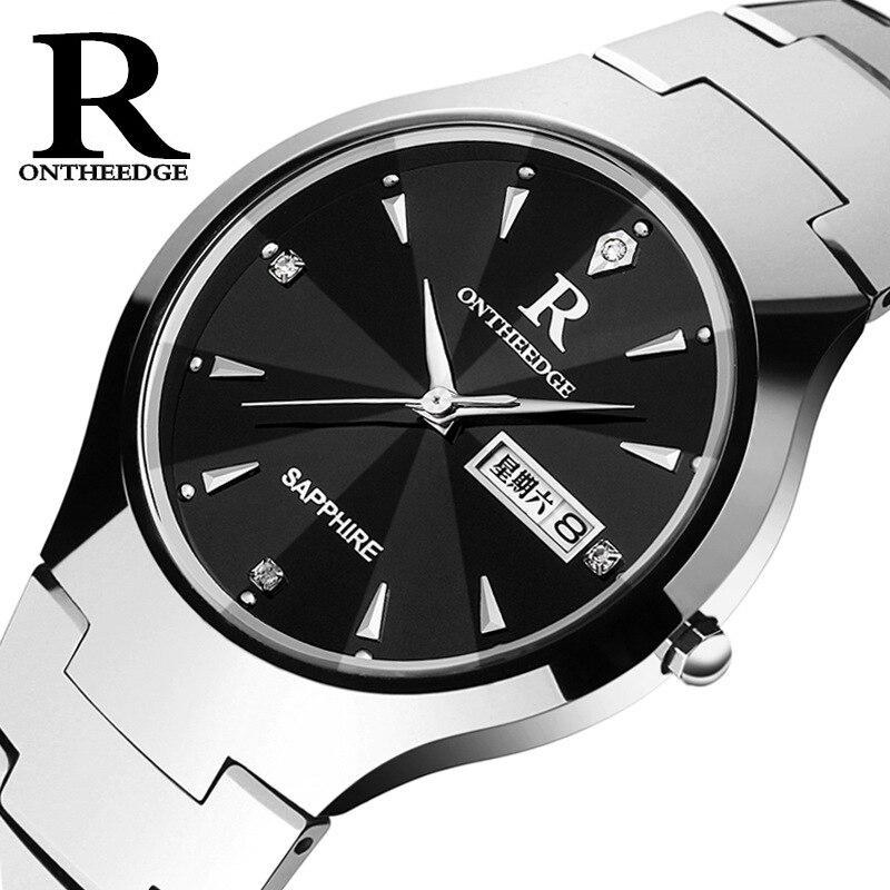 luxury men tungsten steel quartz watch Original brand man clock waterproof calendar Business mens Wrist watches Diamond week<br>