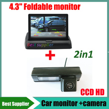 "For Toyota Camry  Harrier Ipsum Car reverse parking rear view camera CCD HD + 4.3"" car monitor TFT LCD DC 12V Foldable monitor"