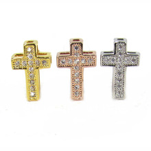18K Gold Plated Micro Pave CZ Spacers Cross Metal Beads Pendant Accessories Fit Christian Bracelet Jewelry DIY Jewelry Beads(China)