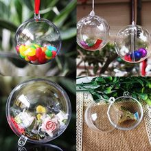 Hot Sale !10Pcs/Lot Christmas Tress Hanging Decorations Ball Transparent Open Plastic Clear Ornament Kids Favors Party Supplies(China)