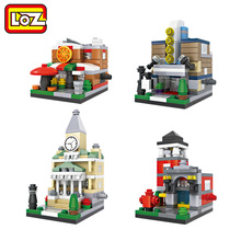 LOZ Mini Architecture Street Building Town Hall Pizza Shop Fire Department Theater Mini Blocks Street Scene Children DIY Toy 662