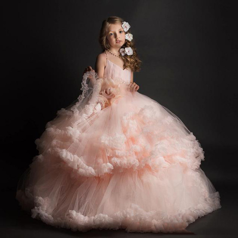 Stunning Pink Sweetheart Cross-Strap Halter Backless Kids Ball Gowns Tiered Ruffles Girls First Communion Dresses  0-12 Year Old<br><br>Aliexpress