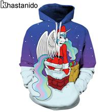 Khastanido 2017 Christmas Angel Unicorn Santa Claus in Chimney 3d Print Pullover Sweatshirts Patchwork Hoody Hoodie Women Coats(China)