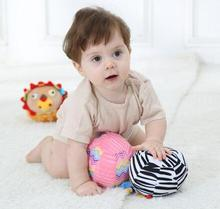Jollybaby 6pcs/lot  Baby Toys Shaker Infant  Hands Feet Trainning Ball Bed Car Plush  Shaking Rattle Animal design   ball