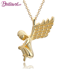Beiliwol Pendant Necklace for Women Angel Wing Gold-color Link Chain Christmas Gift 3 Color Cute Fine Jewelry Lady New Design(China)
