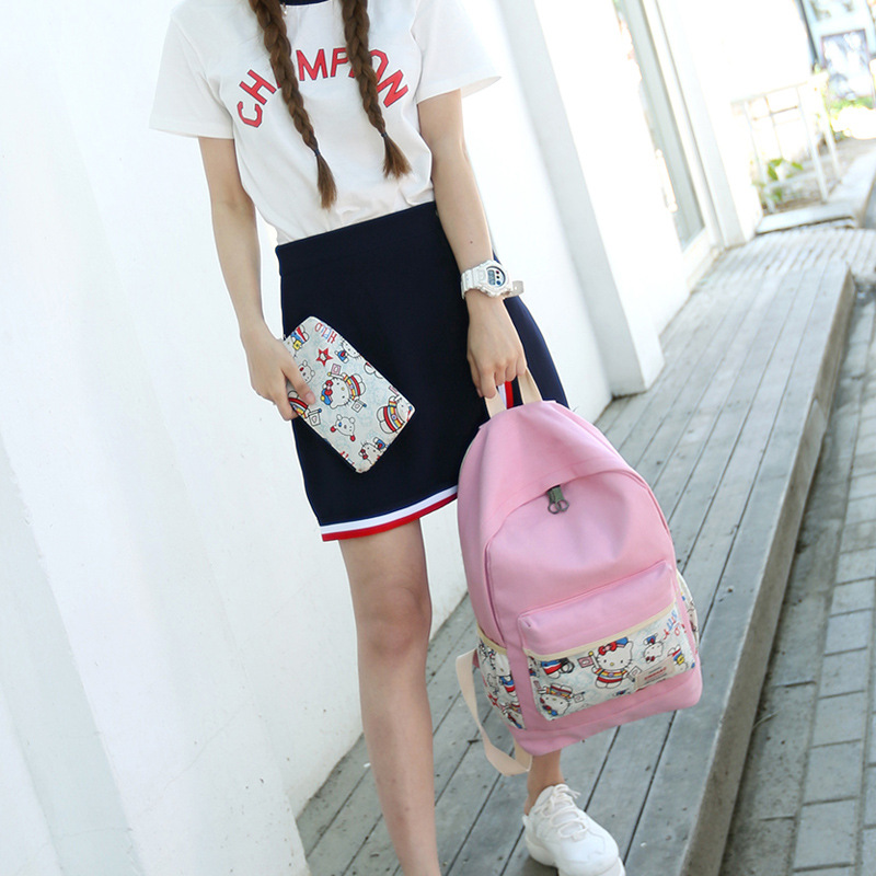 Hot Travel Luggage Laptop Backpacks School Bags School Wind Bolsas Canvas Kawaii Laptop Backpack Women Hello Kitty Shoulder Bag(China)