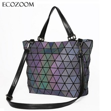Matte Women Laser Geometry Bag Sequins Mirror Saser Plaid Folding Shoulder Bags Luminous Handbag Diamond Casual Tote Bucket Bag(China)