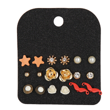 Lovely Flower Stud Sets Hot-Sell Vintage Small Gold Ball Earring Sets For Teen Girls 9 Pairs Jewelry Wholesale