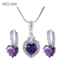 MOLIAM 2017 LOVE Heart Pendant Necklaces Earring Set Silver Color Costume Jewellery Set Wedding Gift MLE003d+MLP007d