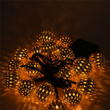 20 Head Of Solar Energy Morocco Ball String 20LED Metal Ball Christmas Light modern lighting fixture * 30(China)