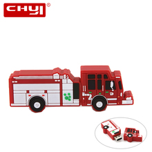 Fire Truck USB Flash Drive Car Toy Shaped Pen Driver 4GB 8GB 16GB 32GB 64GB Pendrive USB2.0 Memory Stick U Disk Promotions Gift(China)