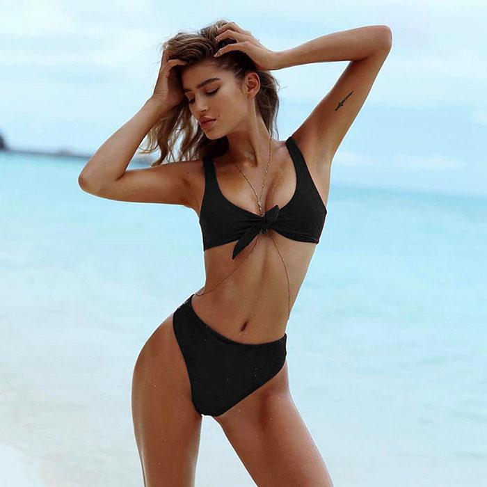 Sexy V-Neck Bikini Set Swimwear Solid Ruched Tie Knot Front Sexy Swimming Clothings Beachwear Summer Beach