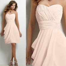Knee Length Bridesmaid Dress Sweetheart A line Chiffon Pleated Empire Wedding Formal Dress Custom Make Bride Maid Dress