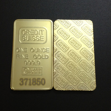 30 pcs/lot Credit Suisse LASER number 24k gold bullion souvenir plated bar copy Coin.free shipping