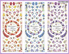 3 PACKS / LOT MOSAIC FLOWER RING NAIL TATTOOS STICKER WATER TRANSFER DECAL NAIL ART HOT052-054