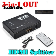 kebidu 1080P HD 1 to 3 Port HDMI Switch Switcher Hub Splitter Hdmi Selector For PS3 Gaming For HDTV Video DVD + Remote Control(China)
