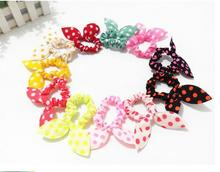 Headwear 10 Pcs / lot Korea rabbit ears bow wave nod rope mini headdress hair rope rubber band can be mixed batch(China)
