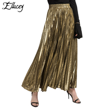 New 2017 Summer Beach Pleated Skirts For Women Elastic Waist Gold Silver Maxi Skirt A-line Stylish Lady Pleated Long Skirt Saia(China)