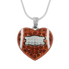 Minimal American Football Necklace Pendant Brown Rhinestone Sports Fashion Jewelry With White Enamel(China)