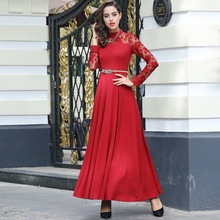 XXXL Dress Plus Size Fashion Women Spring Long Dress 2017 Ladies Red Stand Collar Sheer Gauze Lace Patchwork Long Party Red Dres