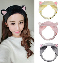 New Women Girls Cute Animal Cat Ears Cloth Headband for Face Washing Hair Band Fashion Hairwear Hair Accessories for Women