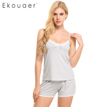 Ekouaer Pajamas sets Spring Summer women striped pajama of Halter top with Sleep Shorts Solid Lace Lady Nightgown Home Clothes(China)