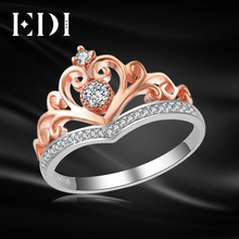 EDI Classic CROWN Real Natural Diamond Wedding Rings For Women 14k 585 Rose White Gold Engagement Bands Fine Jewelry(China)