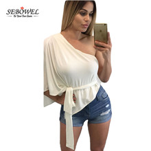 SEBOWEL Women Sexy One Shoulder Batwing Sleeve Blouse Waist Belted Loose Casual Women Tops Summer Club Shirts Blusa feminino