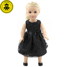 "American Girl Doll Clothes Fit 18"" American Girl Handmade Black Party Dress American Girl Baby Doll Clothing Accessories MG-024(China)"